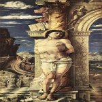 Andrea Mantegna (Isola di Cartura, about 1430/31 - Mantua, 1506)  St Sebastian  Oil on wood, 1457-1458  26 3/4 x 11 3/4 inches (68 x 30 cm)  Kunsthistorisches Museum, Vienna, Austria